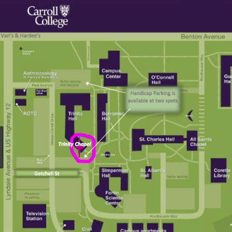 Carroll College Perpetual Adoration Location Map